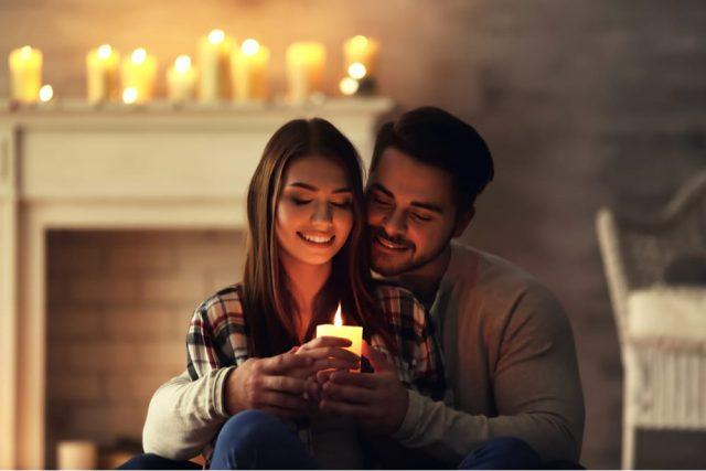 Couple Lighting Candles Romantic Gemini Man